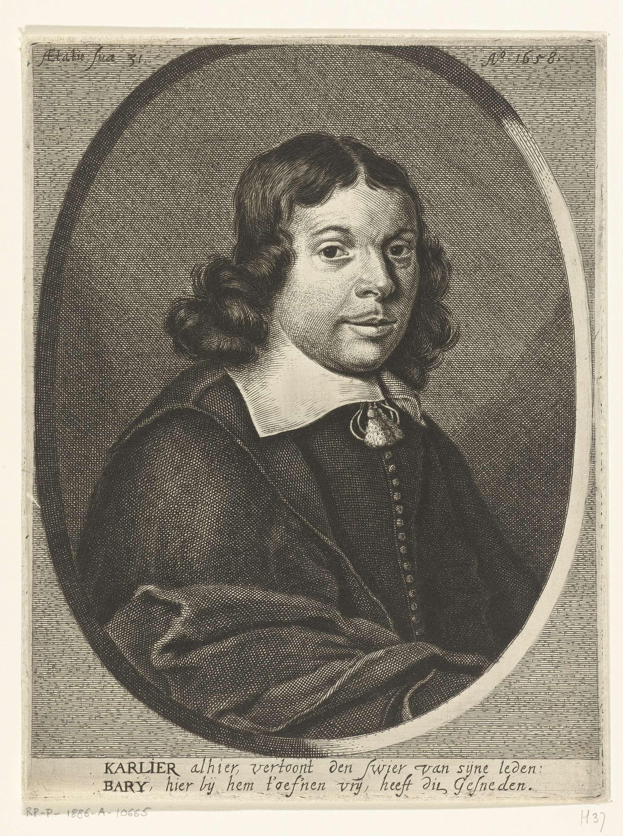 Hendrik Bary | Portret van Aernout Carlier, Hendrik Bary, 1658 - 1660 | Borstbeeld van Aernout Carlier op 31-jarige leeftijd in ovaal. Met een onderschrift van twee regels in het Nederlands.