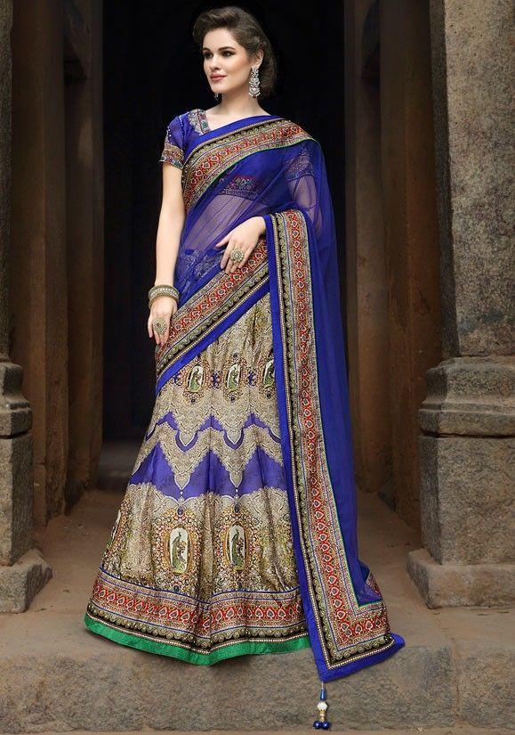 152ec0c8a9d Gorgeous Royal Blue and Beige Satin Lehenga Choli