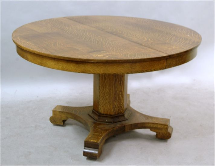 Antique Oak Round Oval Pedestal Dining Table With 2 Leaves Ebay
