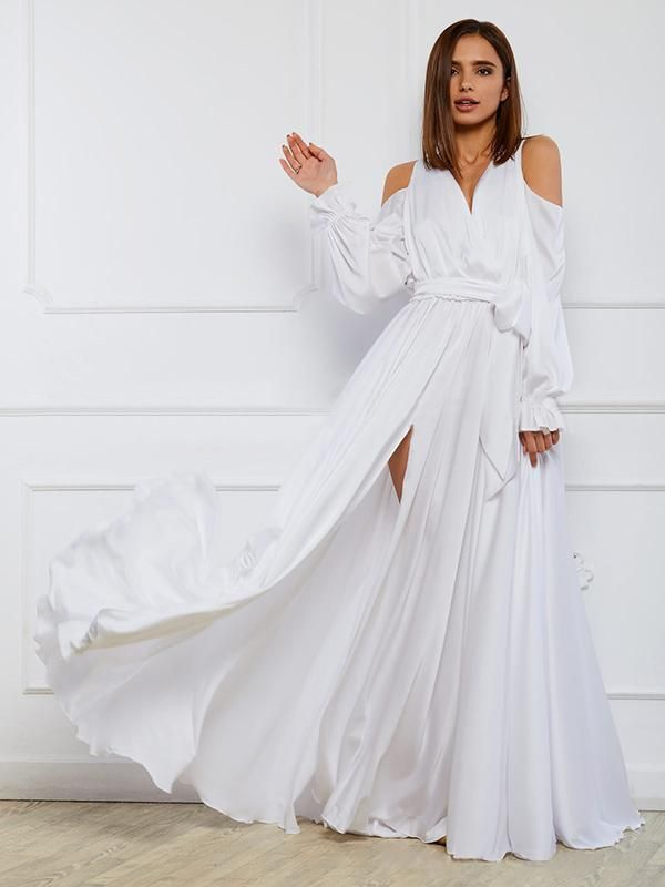 83ae8ed253 Solid color cold shoulder split beach maxi dress | Products | White ...