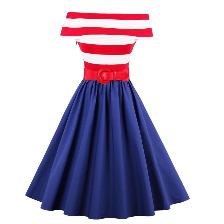 ab4b78731e8 2017 Summer Dress 1950s Off-Shoulder Striped Vintage Dress Audrey Hepburn  Style Rockabilly Swing Party Dress Feminino Vestidos