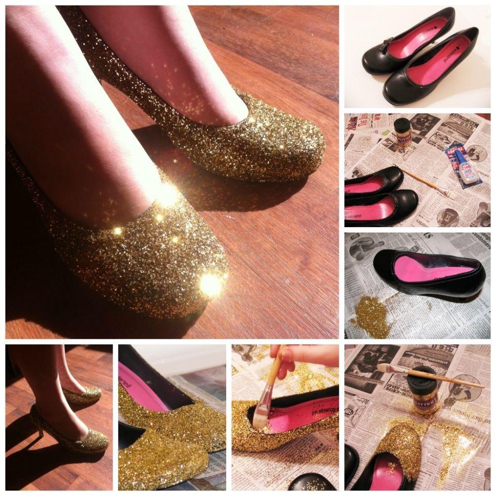Diy glitter shoes sapatos reformados pinterest sparkle shoes diy glitter shoes solutioingenieria Images