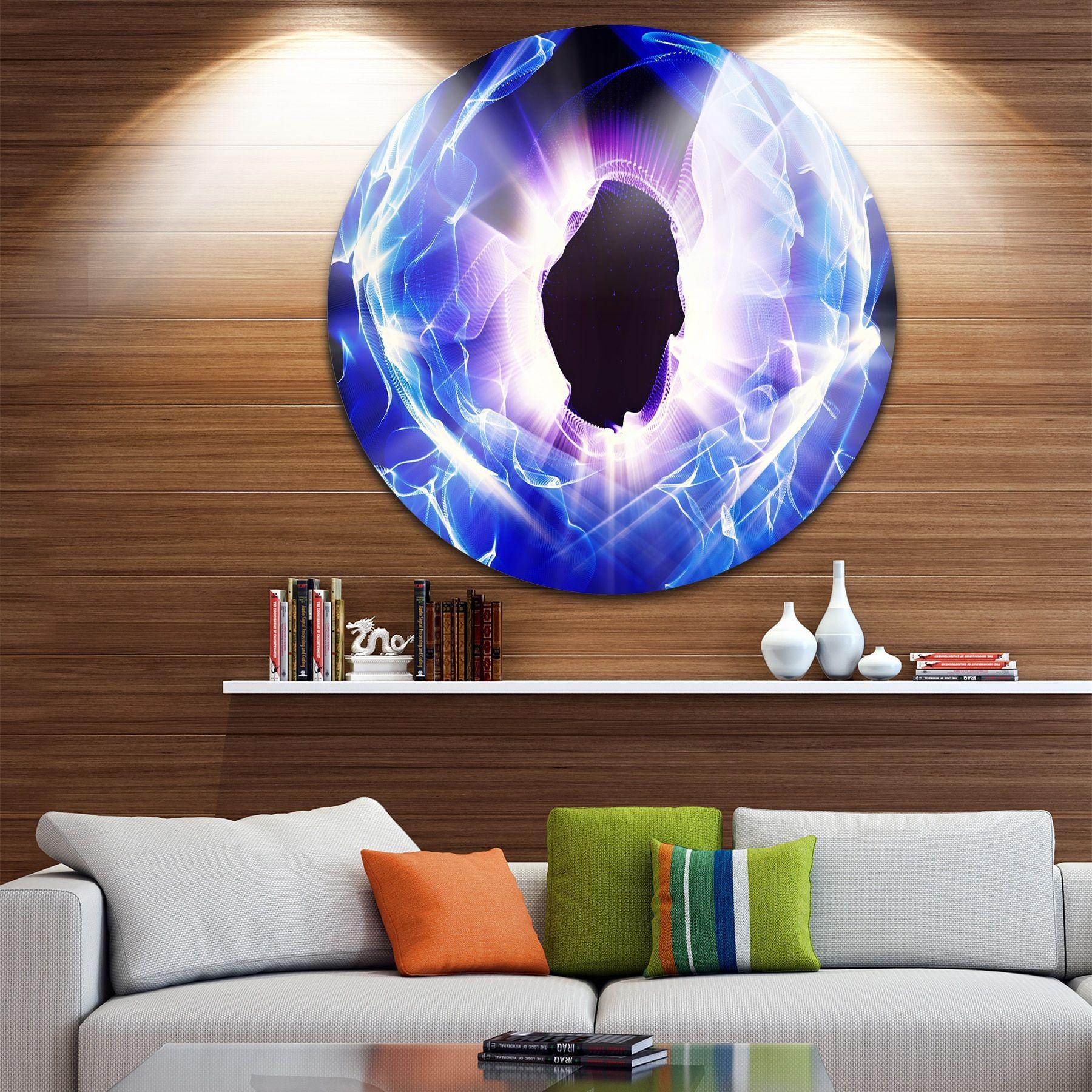 Designart 'Fractal Light Shine' Abstract Digital Art Round Metal Wall Art