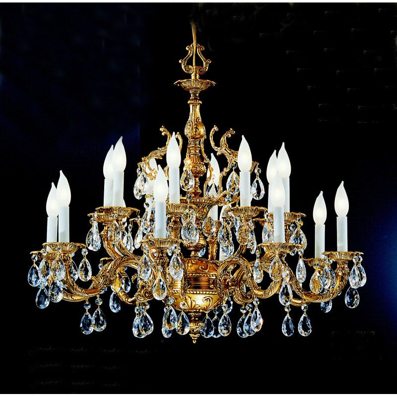 "Classic Lighting 5516 OWB S Swarovski Strass 27"" Crystal Cast Brass Chandelier from the Barcelona Collection"