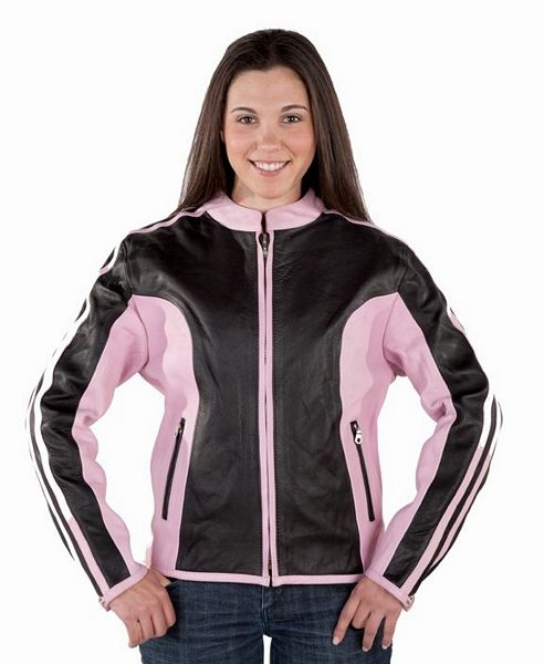 Ladies pink and black leather jacket | Leather Apparel | Pinterest ...