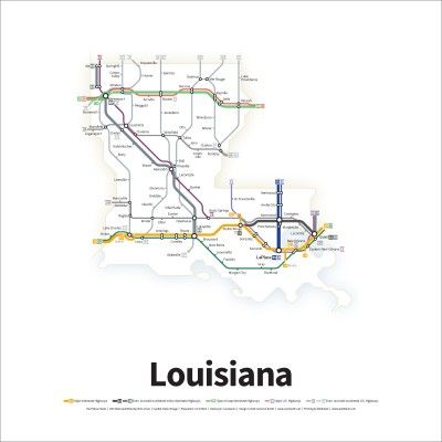 A Simplified Road Map Of Every Interstate Highway And Us Route In - Us-road-maps-for-sale