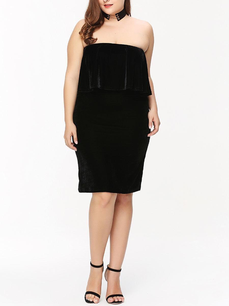 Fashionmia - Fashionmia Strapless Flounce Plain Velvet Plus Size Bodycon Dress - AdoreWe.com