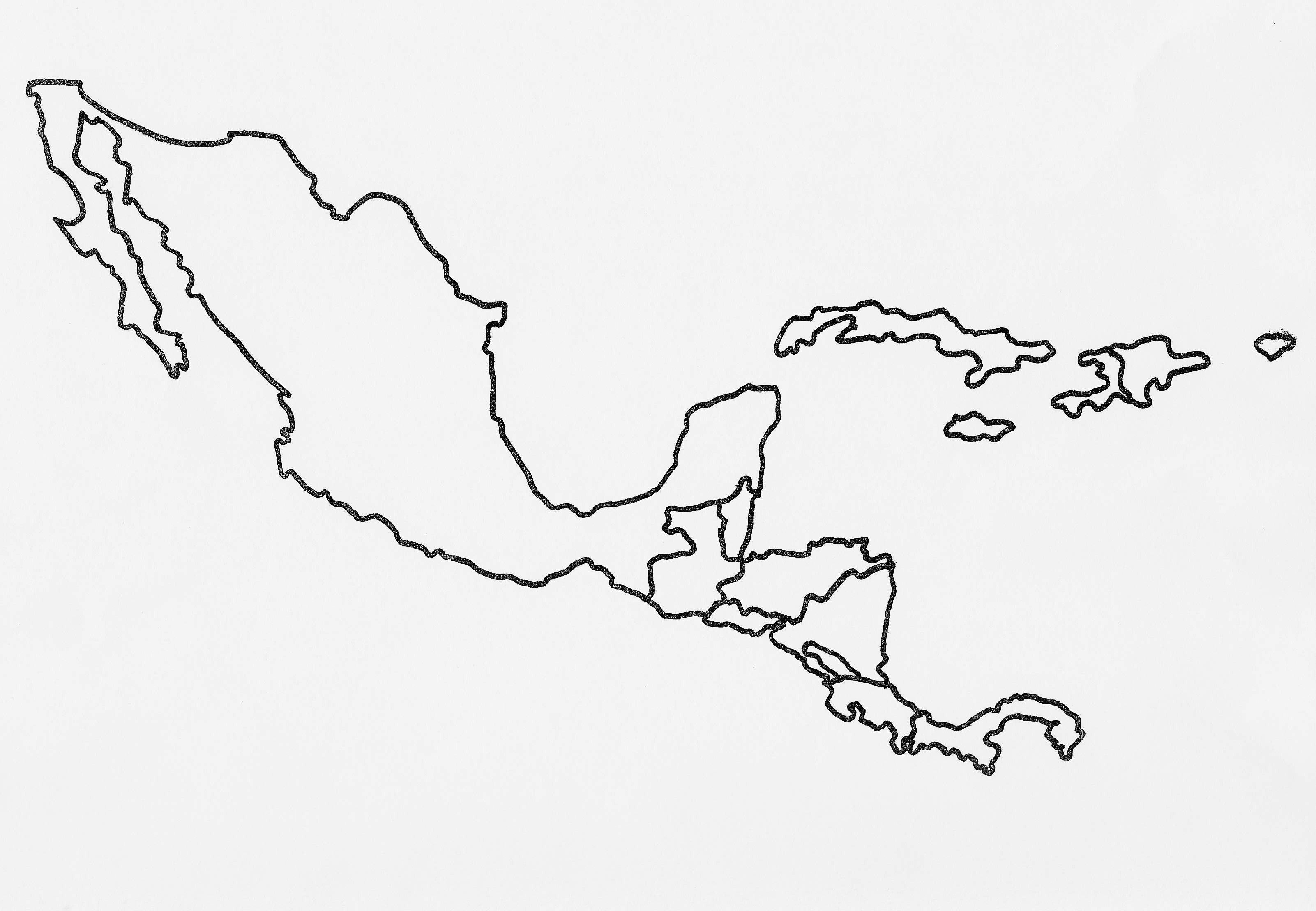 Central America Map Drawing Central America No Labels The Caribbean Blank Map Central America Outline Map Centr Central America Map America Map America Outline