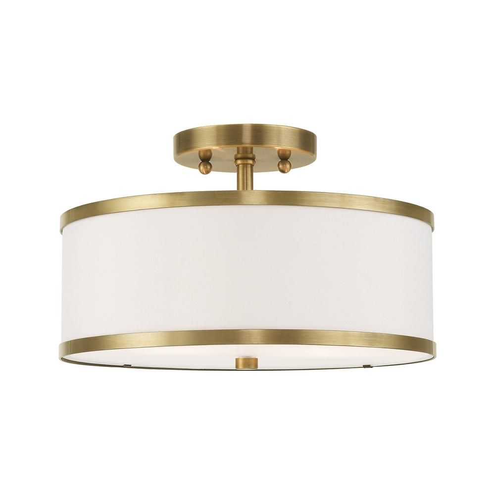 Livex Lighting Park Ridge 13 In 2 Light Antique Brass Semi Flush Mount Light 62627 01 The Home Depot Semi Flush Mount Lighting Flush Mount Lighting Flush Lighting