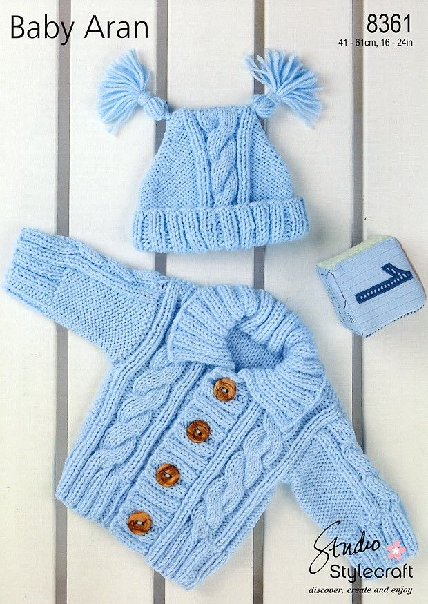 Aran Childrens Knitting Patterns : Cardigan & Hat in Stylecraft Baby Aran (8361) Hat Knitting Patterns K...
