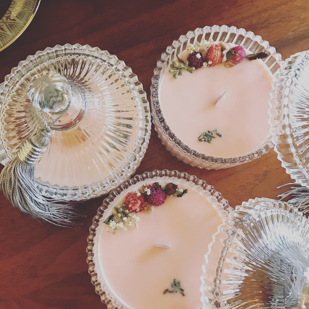 Soy candles // Dried flower candle(rose)