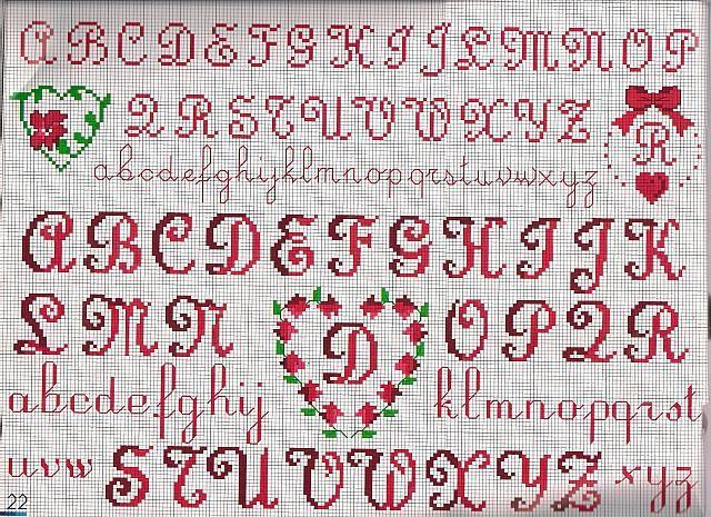 alfabeto cuore punto croce uncinetto