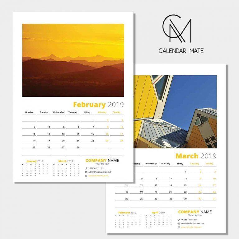 Kreatif Free Wall Calendar Design Template 2019 Psd Calendar