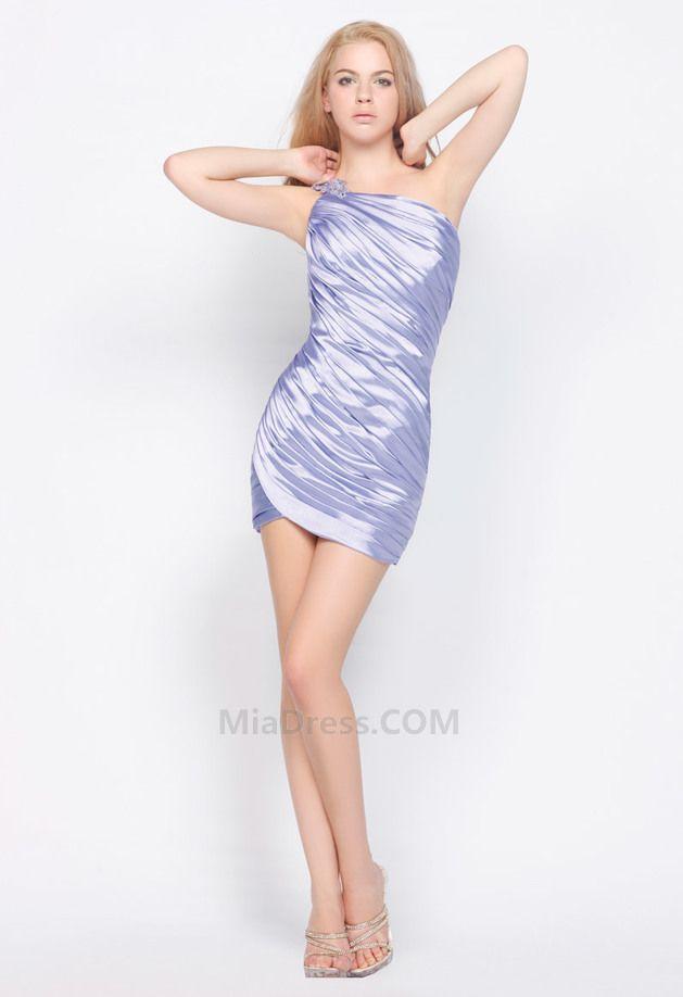 Um ombro vestido Bainha Zipper nas costas Cetim Vestido de cocktail