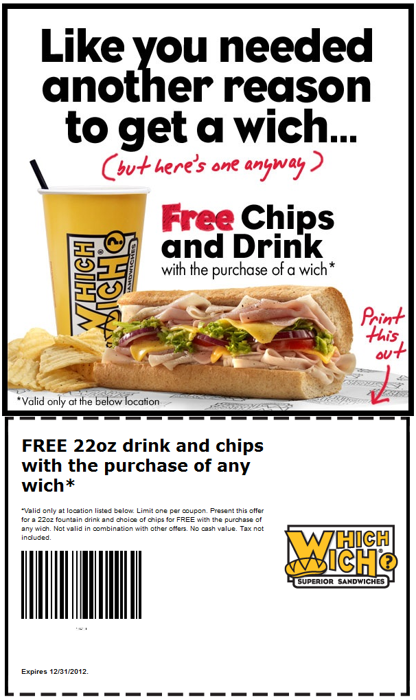 Free Chips Drink With Your Sandwich At Which Wich Coupon Via The Coupons App Coupon Apps Coupons Chips