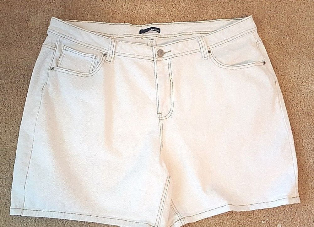 Basic Editions Womens White Denim Shorts Embroidered Pockets Plus 24w Basiceditions Casualshorts White Denim Denim Shorts White Denim Shorts
