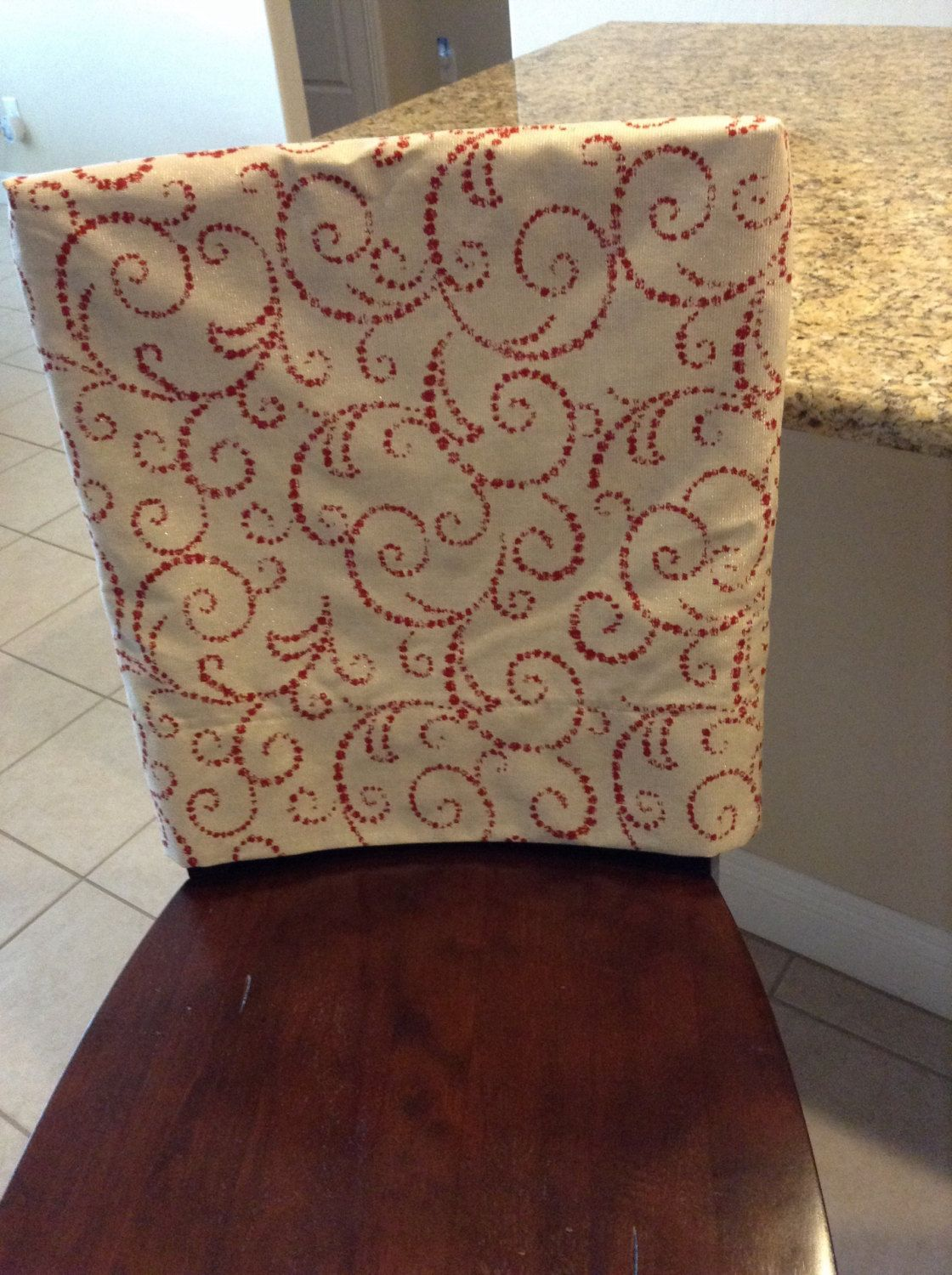 Holiday Bling Custom Fitted Chair Back Cover, Washable, Removeable, Natural  Background Fabric With
