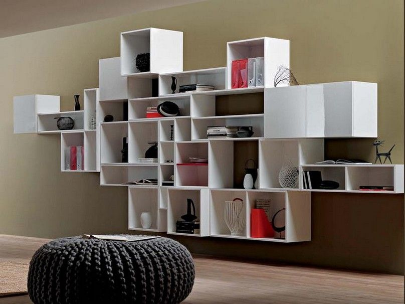 Fantastic Nice Adorable Wonderful Cool Modern Bookshelf Plan Idea With  Modular Concept Design Floating Design White