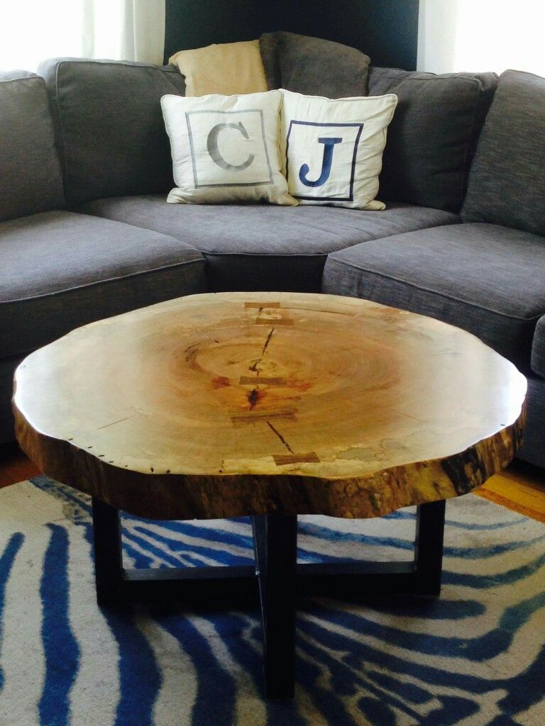 Attractive Live Edge Round Tree Log Coffee Table
