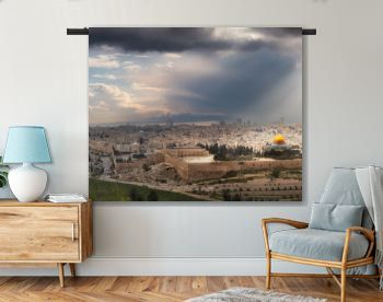 WANDKLEED SKYLINES 15 Beautiful panoramic aerial view of the Old City, Tomb of the Prophets and Dome of the Rock. Dramatic Sky with Sunrays Composite. Jerusalem, Capital of Israel.