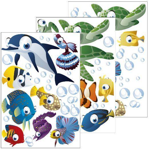 wandsticker unterwasserwelt fische ozean wandtattoo f r kinderzimmer kinder badezimmer. Black Bedroom Furniture Sets. Home Design Ideas