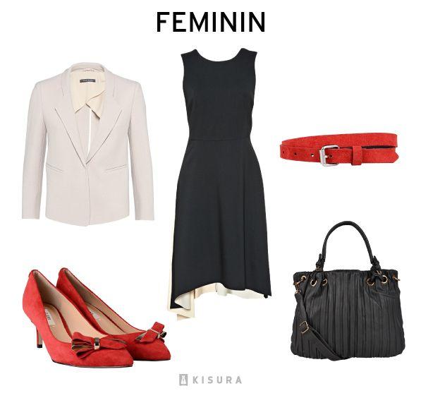 Schwarzes Kleid, beige Blazer, roter Gürtel, rote Pumps, schwarzer ...
