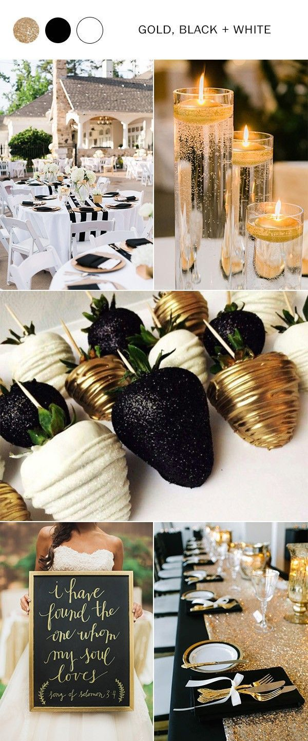 Wedding decorations black and gold  gold black and white wedding colors for  wedding weddingideas