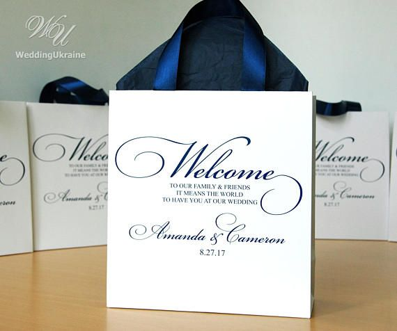 Unique Wedding Welcome Bag Ideas: 25 Wedding Welcome Bags With Navy Blue Satin Ribbon