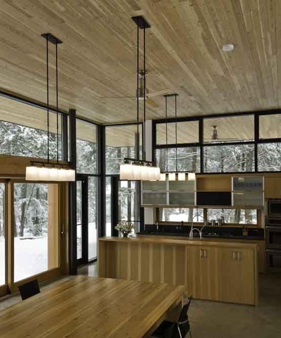 Interior of modern lakeside cabin - LOVE