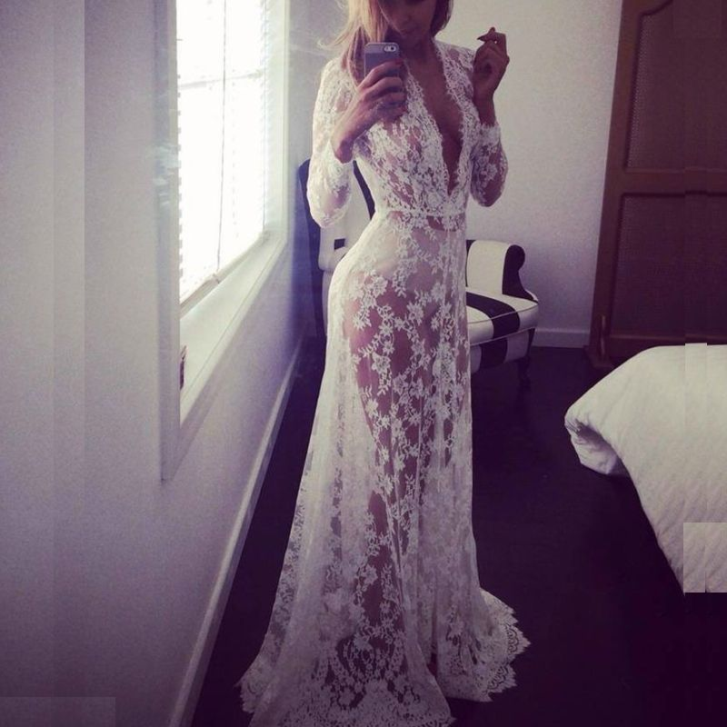 White Beach Dress Maternity Long Lace Dresses Pregnant Photography ...