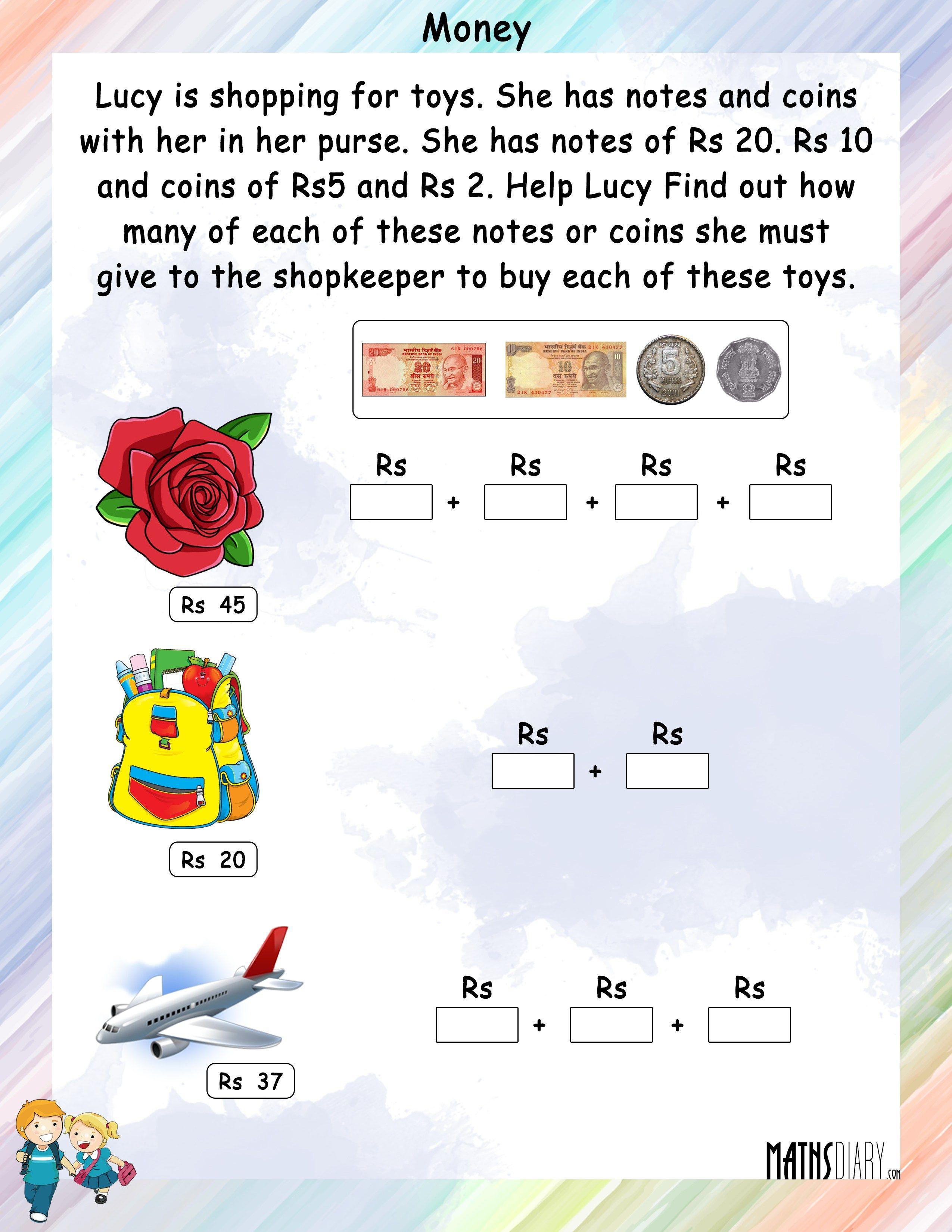 Word Problems Grade 2 Math Worksheets Maths Caps Money