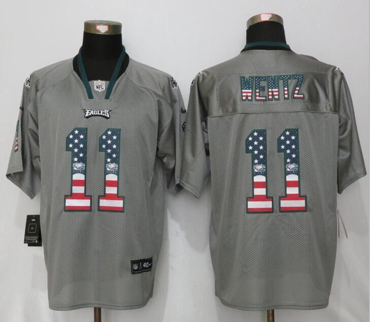 2912f7afa Philadelphia Eagles 11 Wentz USA Flag Fashion Gray New Nike Elite Jerseys