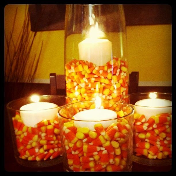 Amber s candy corn vase fillers with candles frosty