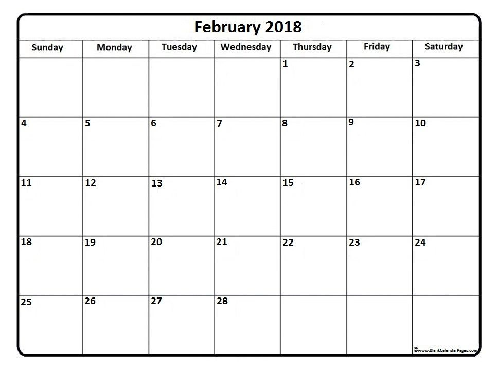 February 2018 calendar  February 2018 calendar printable - quarterly calendar template