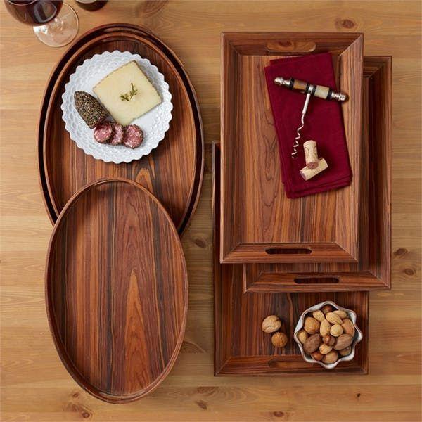 Two's Company Set Of 3 Wood Veneer Trays