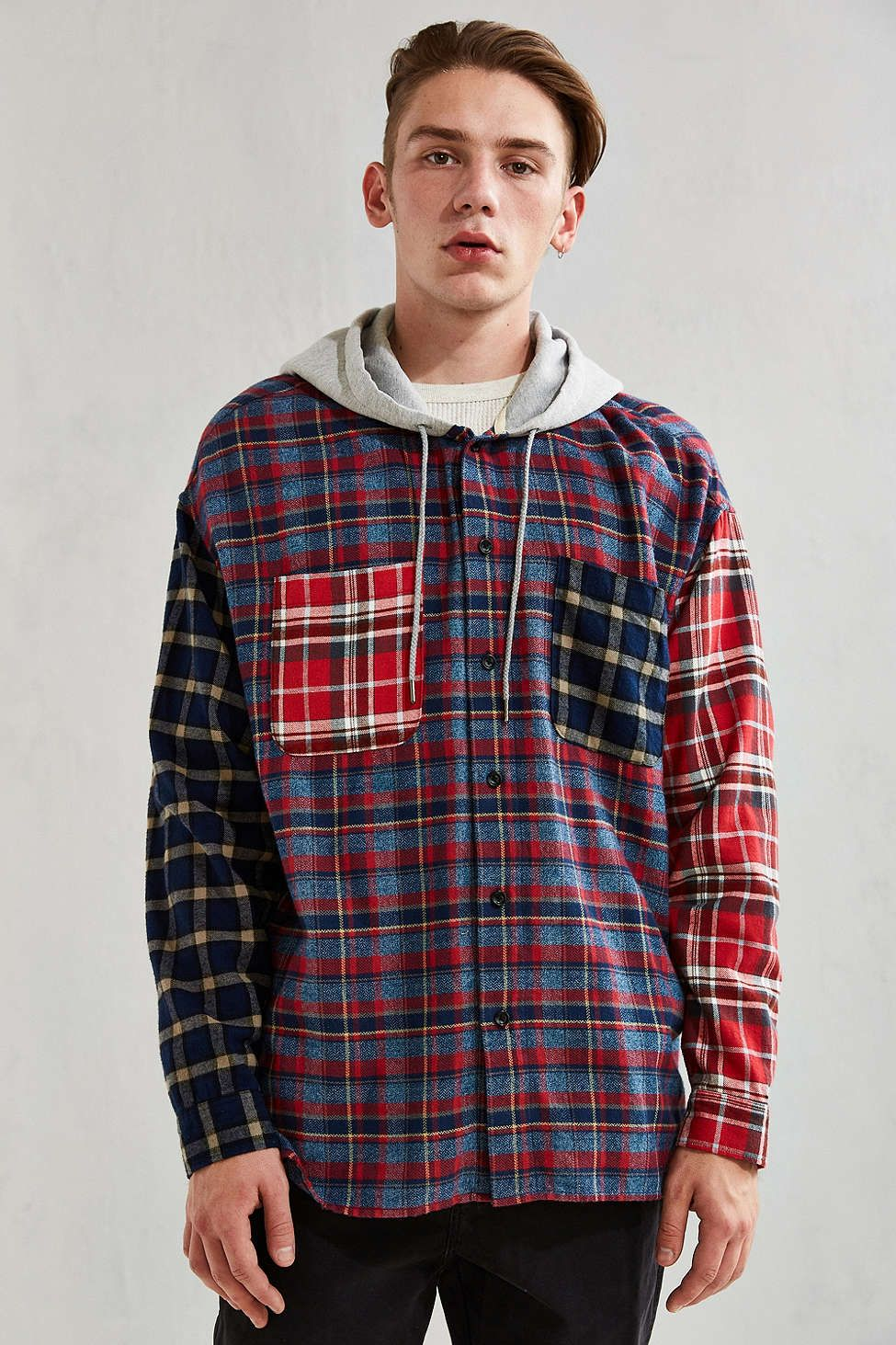 UO Hooded Patchwork Flannel Button-Down Shirt - Urban Outfitters ...