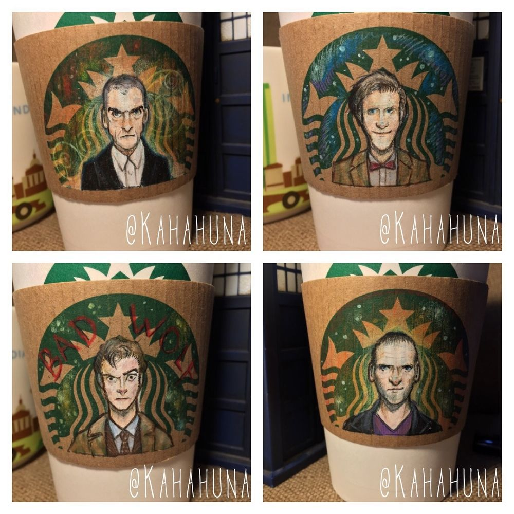 A set of Doctor Who fan art drawn on Starbucks coffee cup sleeves by an artist that goes by the name of Kahahuna.