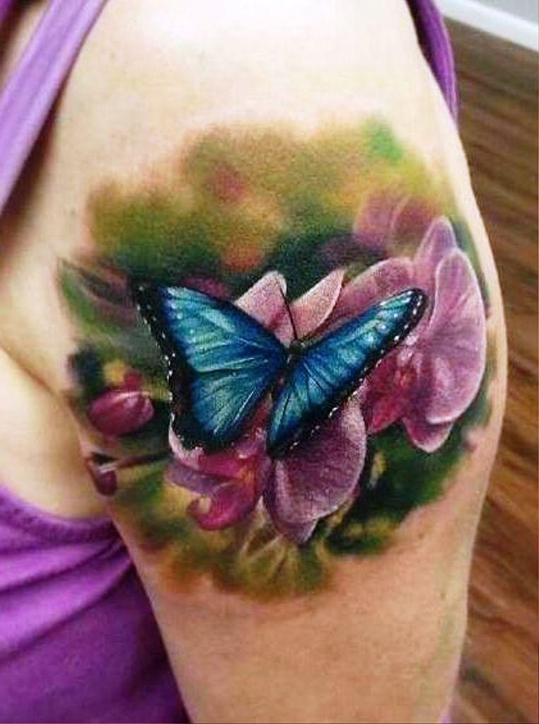 05b44c26a Best 3D Butterfly and Flower Tattoos | 3D Butterfly Tattoos | 3d ...
