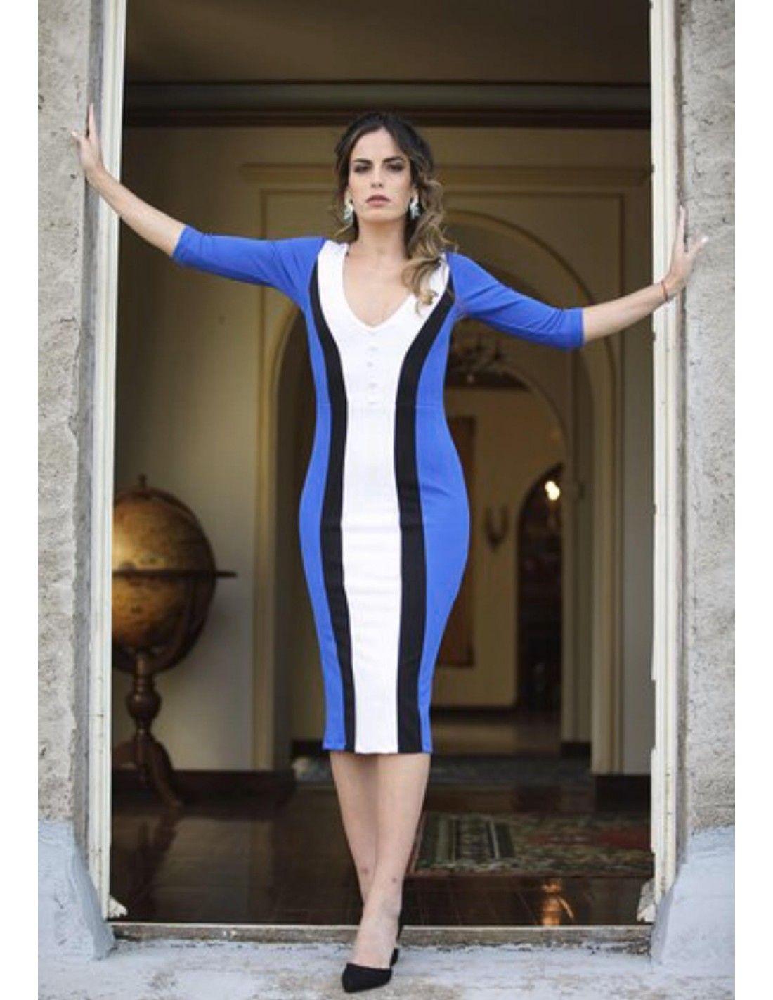 1049af1b509ab Vestido Lorenza - Vestido en tres colores en corte midi. Escote en pico.  Detalle