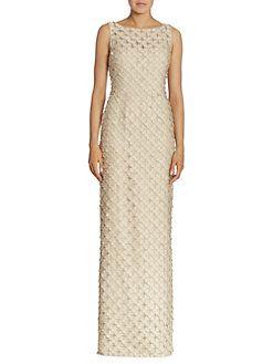 7c16e7c372b36a Carmen Marc Valvo - Sleeveless Organza Circle Appliqué Gown | mother ...