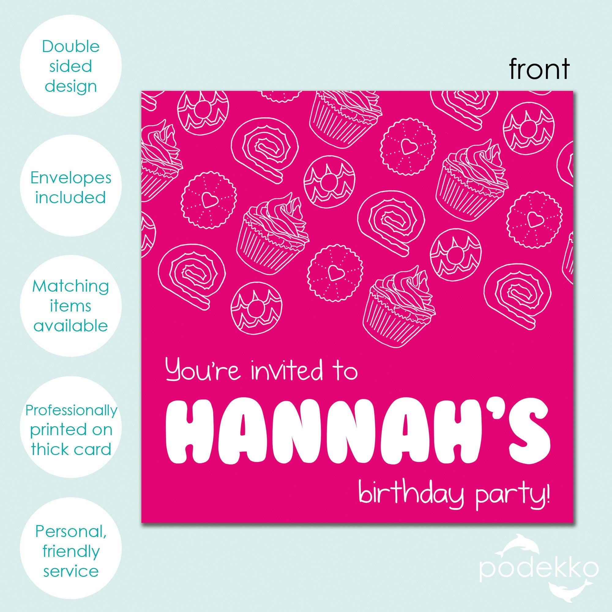 Hot Pink Party Food Pattern with Bubble Font Personalised Children's