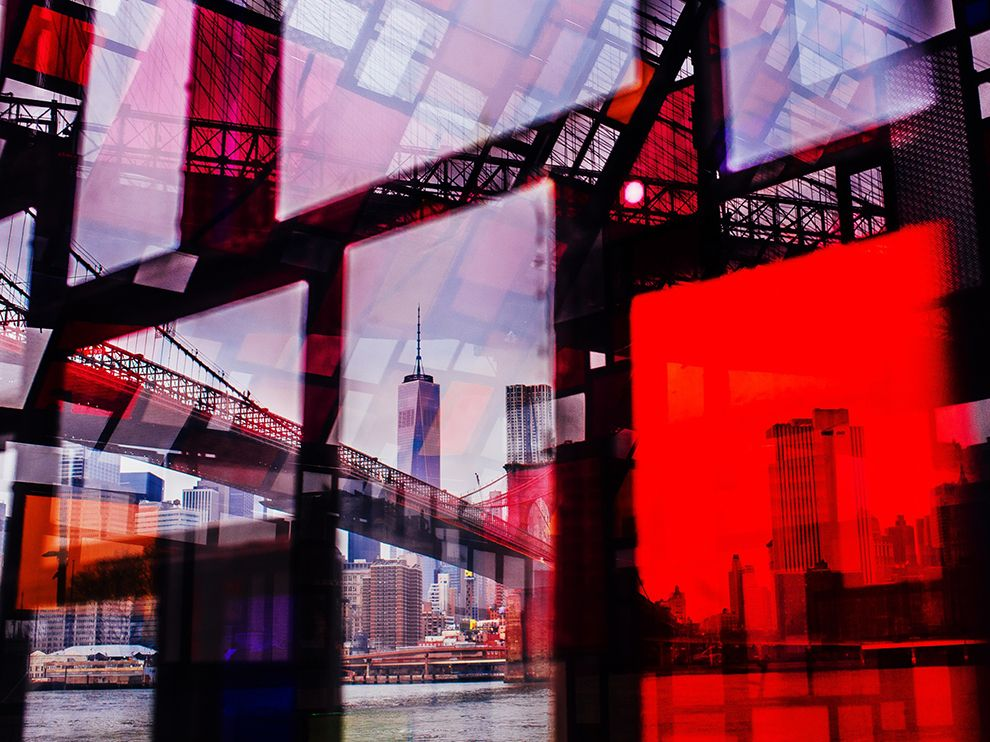 Picture of the New York City skyline seen through colored glass