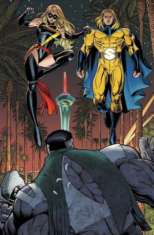 Ms Marvel & Sentry vs Grey Hulk by Arthur Adams