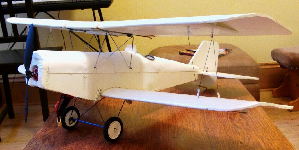 SE5A biplane 940mm wingspan RC scratch build in heavy foam board - plans and build guide ...