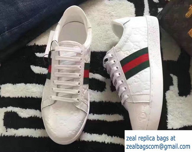 a66e39c137f Gucci Ace Leather Low-Top Lovers Sneakers Web 386750 Signature White 2017