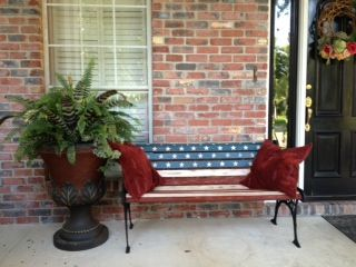Fantastic Hand Painted American Flag Bench Ascp For The Home Porch Short Links Chair Design For Home Short Linksinfo