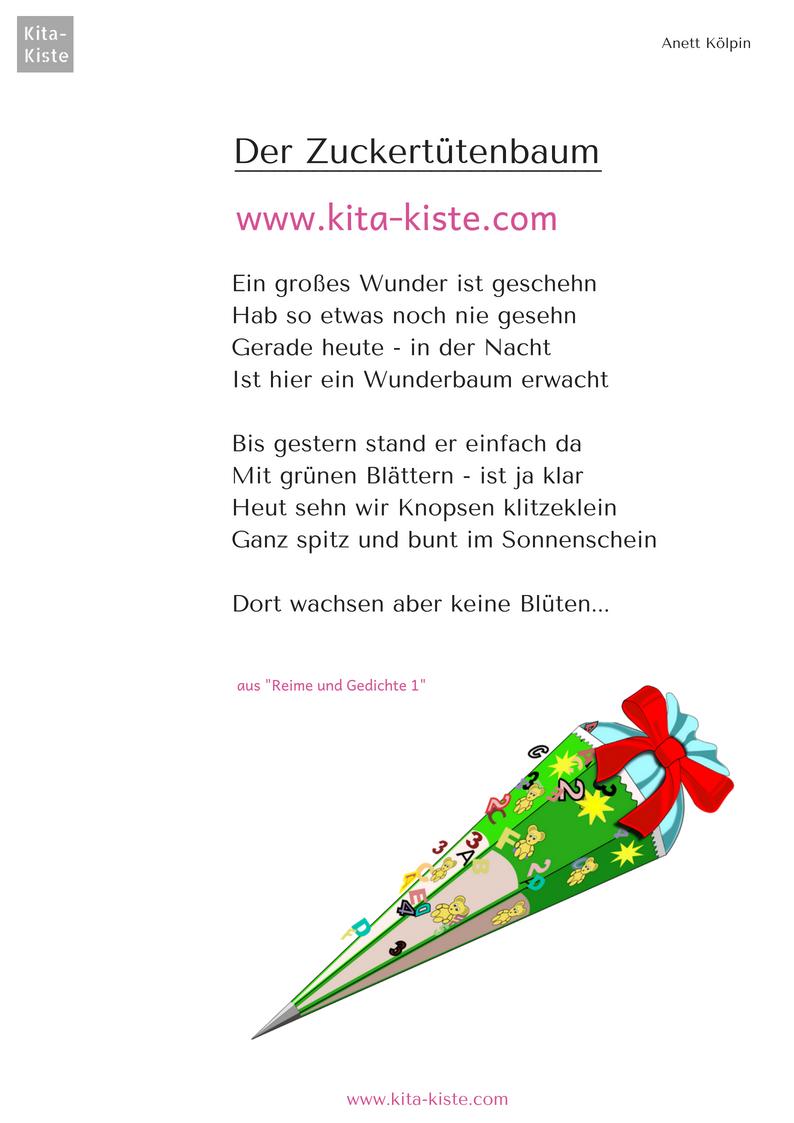 Gedicht Vorschule Einschulung Zuckertütenbaum Kindergarten