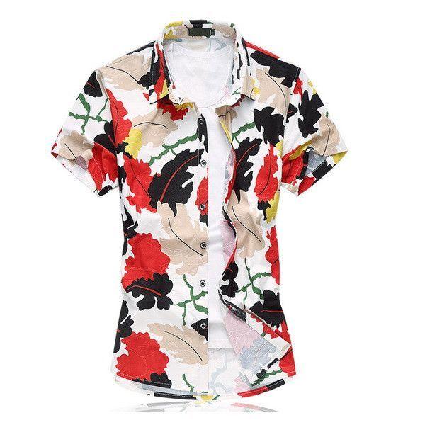 bf084a57526 Mens Beach Wear Hawaiian Shirt Plus Size 6XL 7XL Summer Short Sleeve Mens  Floral Print Shirts 100% Mercerized Cotton