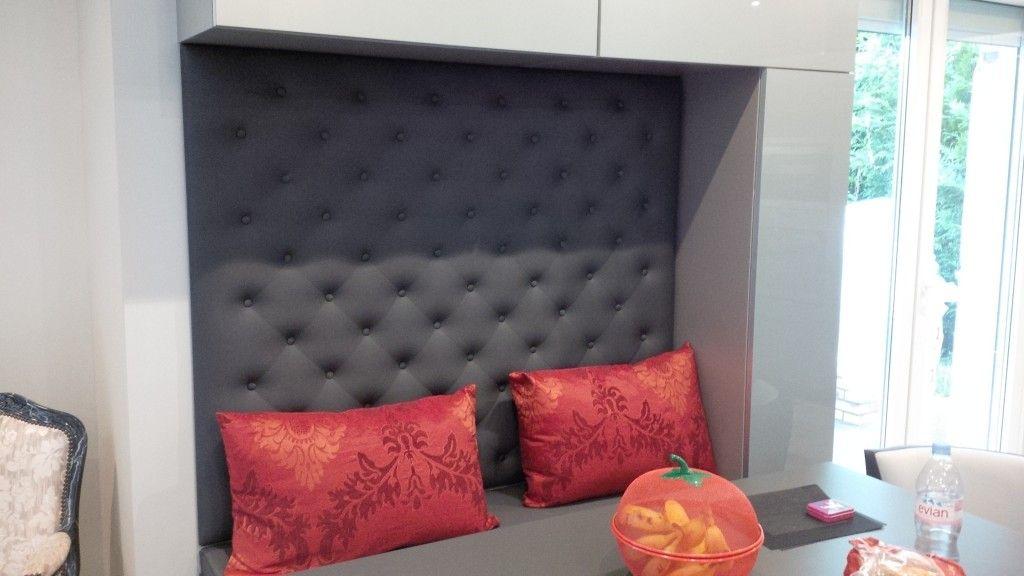 espace repas coussin assise et dos capitonn banquettes pinterest banquettes. Black Bedroom Furniture Sets. Home Design Ideas