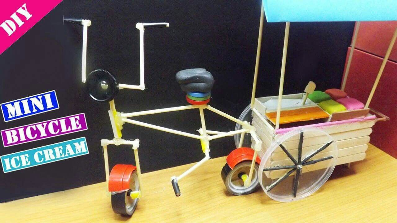 Diy Cute Mini Bicycle With Ice Cream Cart Popsicle Stick Crafts